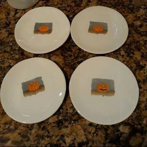 Rae Dunn 4 Small Pumpkin Plates
